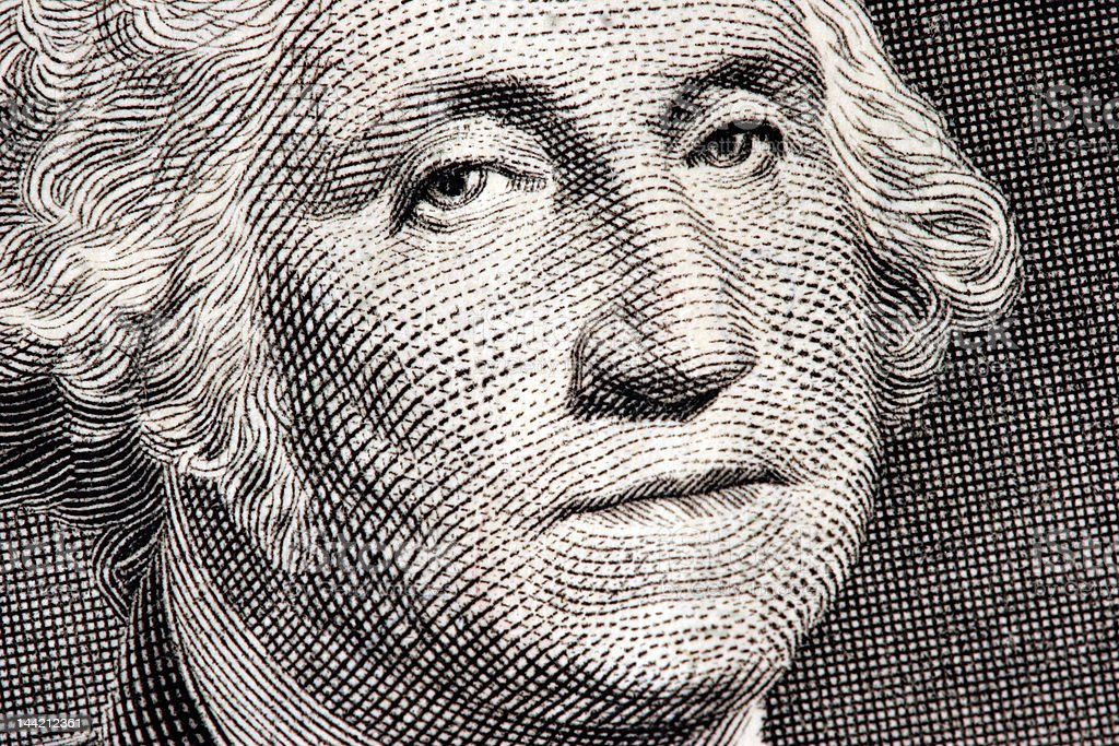George Washington close up from one dollar bill stock photo