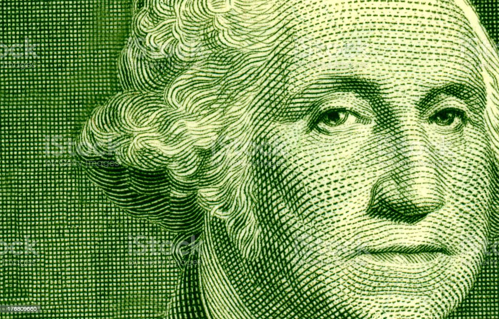 George Washington Dollar Bill Portrait Close-up Macro stock photo