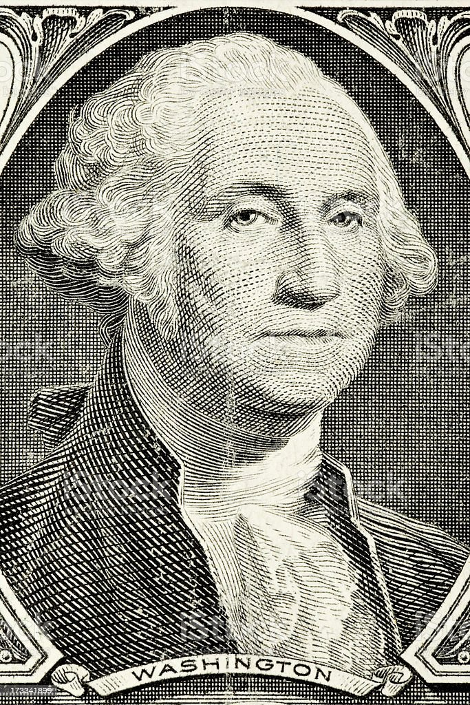 George Washington from an old American one dollar banknote royalty-free stock photo
