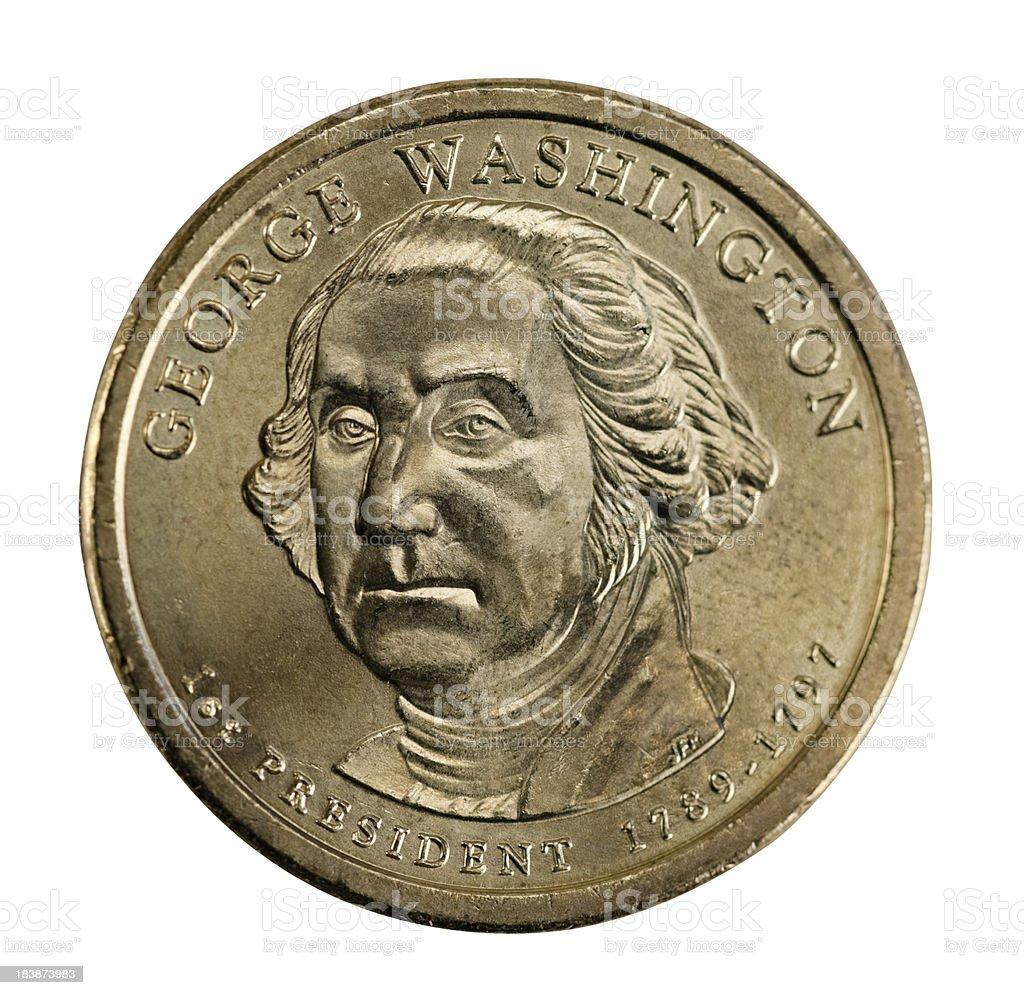 George Washington Golden Dollar Coin from 2007 stock photo