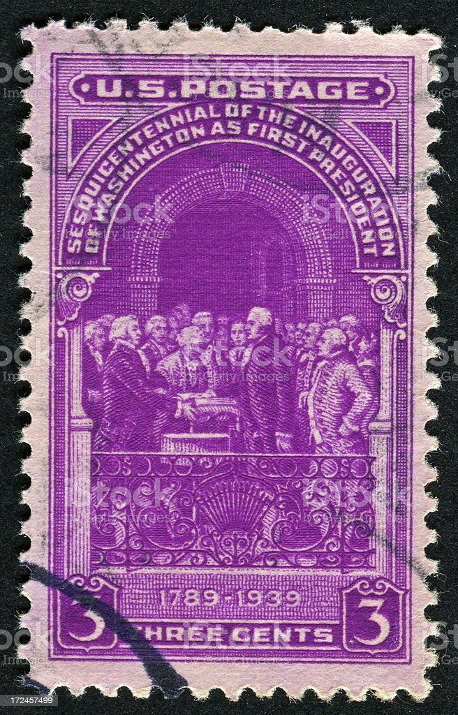 George Washington Inauguration Stamp royalty-free stock photo