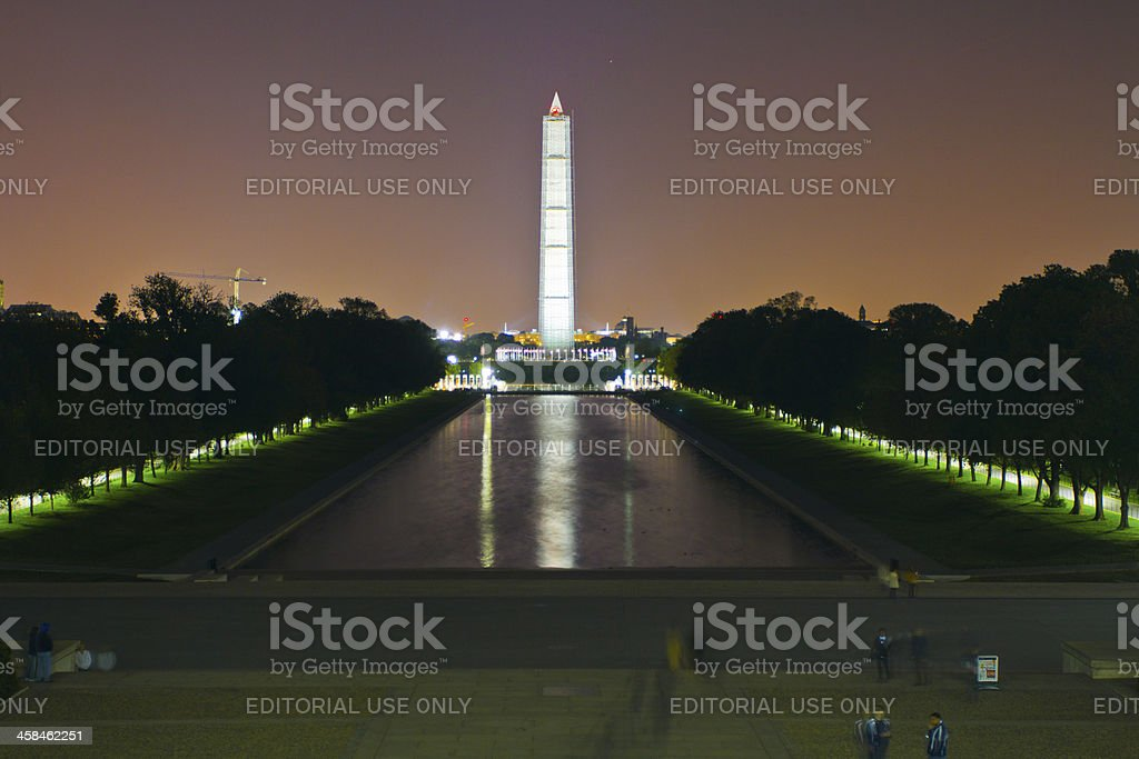George Washington Memorial in DC at night stock photo