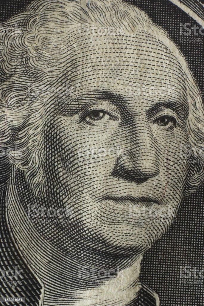 George Washington portrait as seen on the one dollar bill stock photo