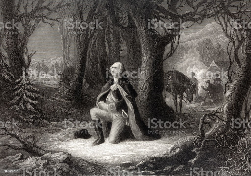 George Washington Praying stock photo