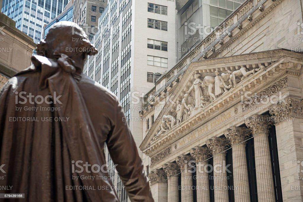 George Washington statue and New York Stock Exchange stock photo