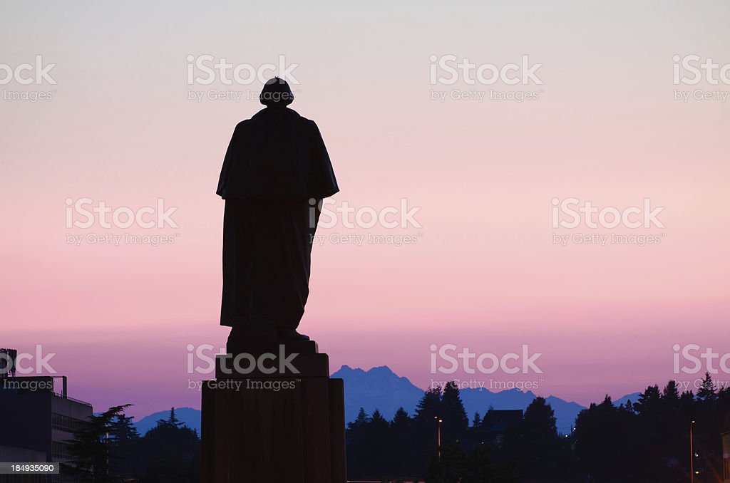 George Washington statue at college campus in Seattle, WA stock photo