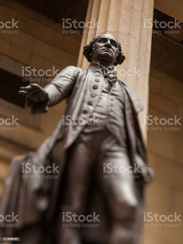 George Washington Statue at Federal Hall in New York stock photo