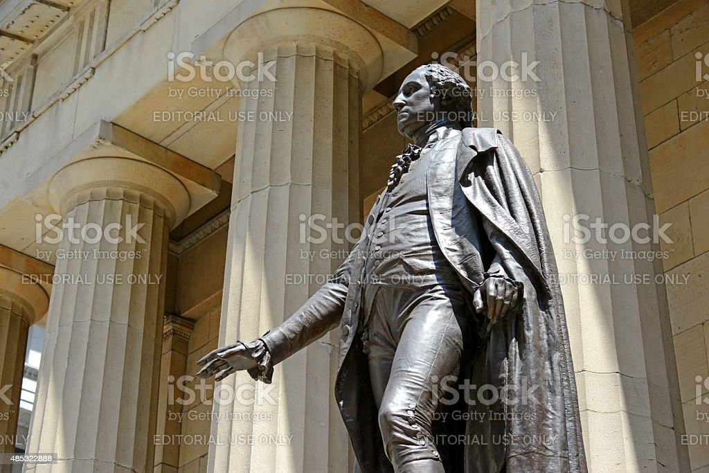 George Washington Statue at Federal Hall next to NYSE, NYC stock photo
