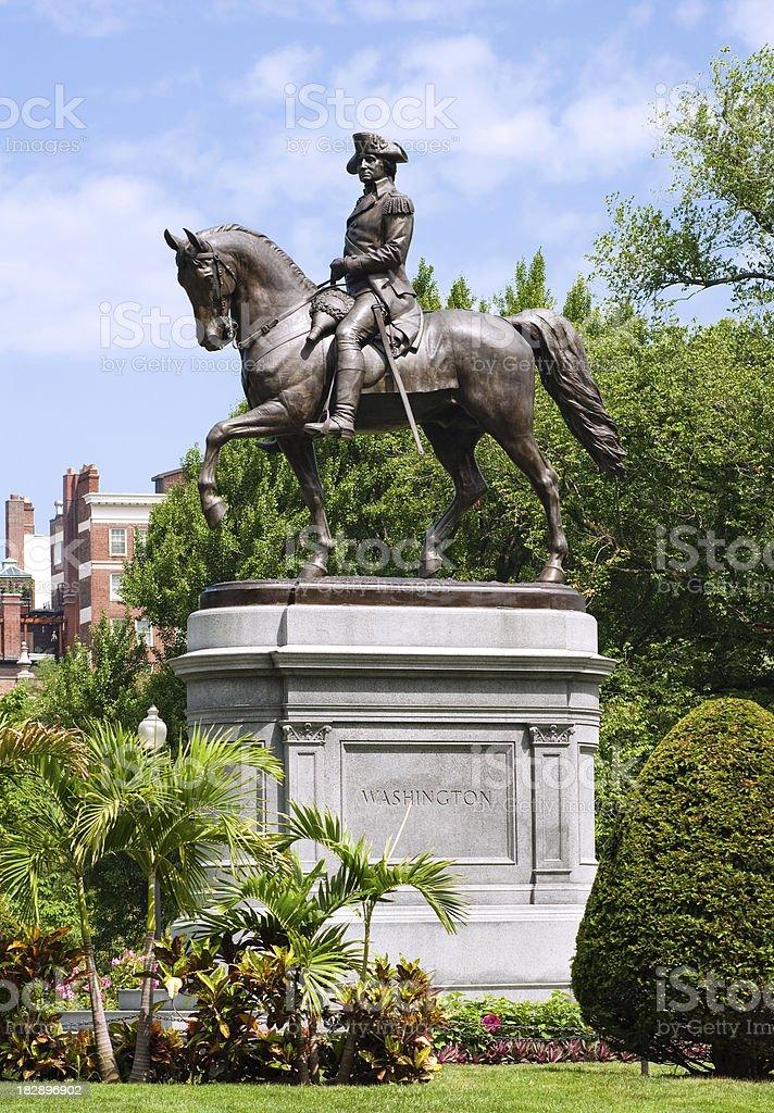 George Washington statue at the Public Garden in Boston, MA stock photo