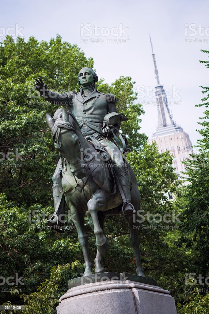 George Washington statue at Union Square Park in New York stock photo