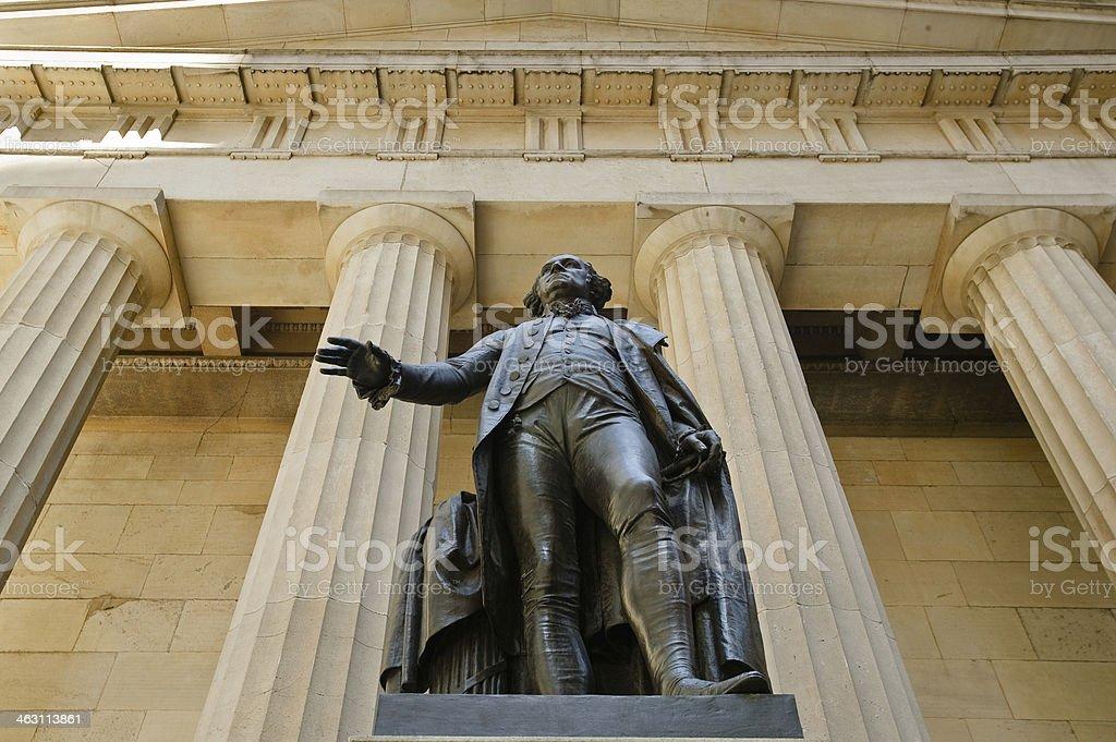George Washington Statue & Federal Hall National Memorial, NYC royalty-free stock photo