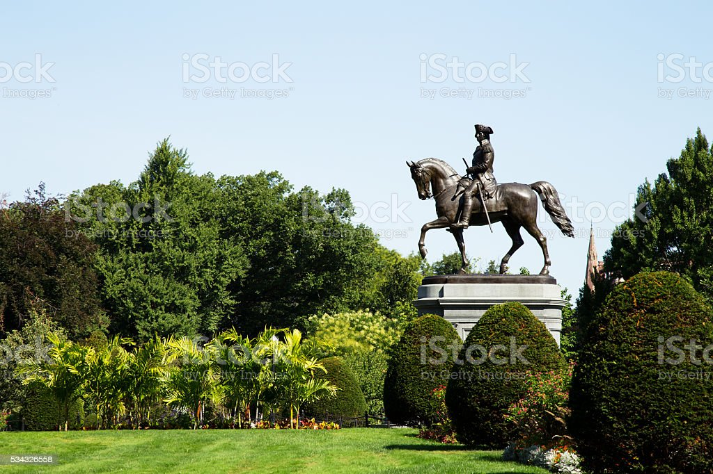George Washington Statue in Boston Public Garden, Boston stock photo