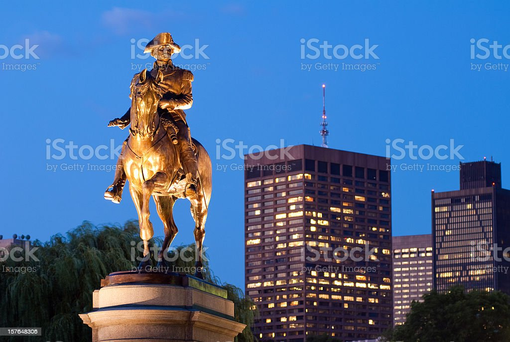 George Washington statue in Public Garden at night stock photo