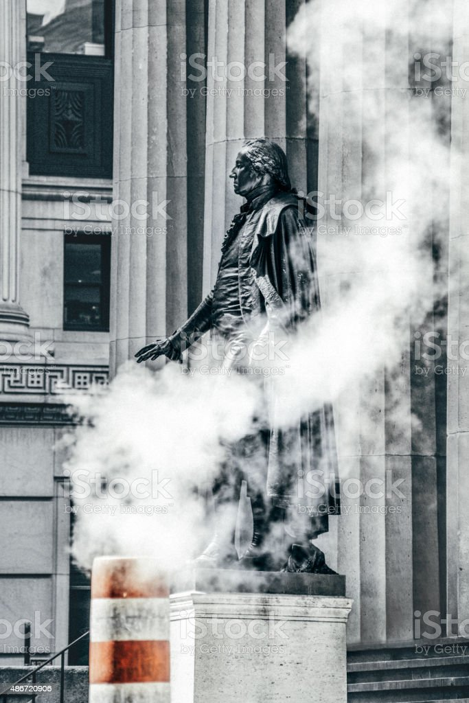 George Washington Statue in Wall Street NYC stock photo