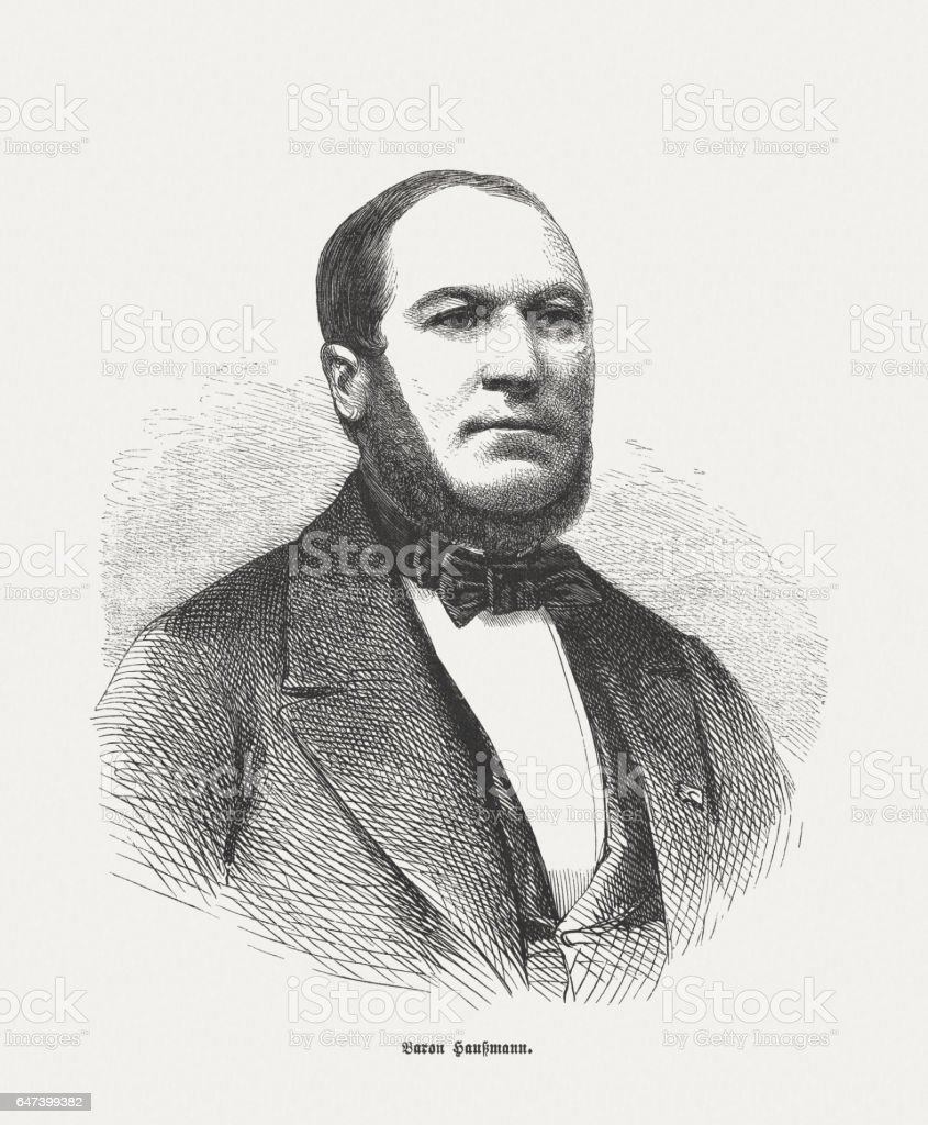 Georges-Eugène Baron Haussmann (1809-1891), French prefect, wood engraving, published 1865 stock photo
