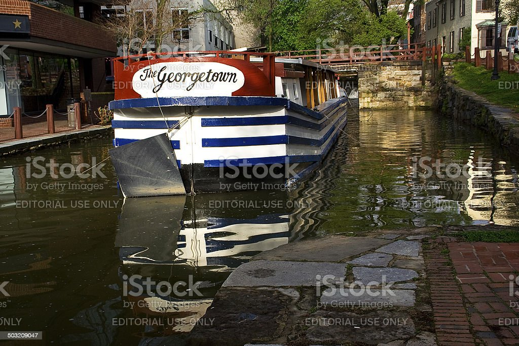 Georgetown Boat C&O Canal National Park Washington DC stock photo