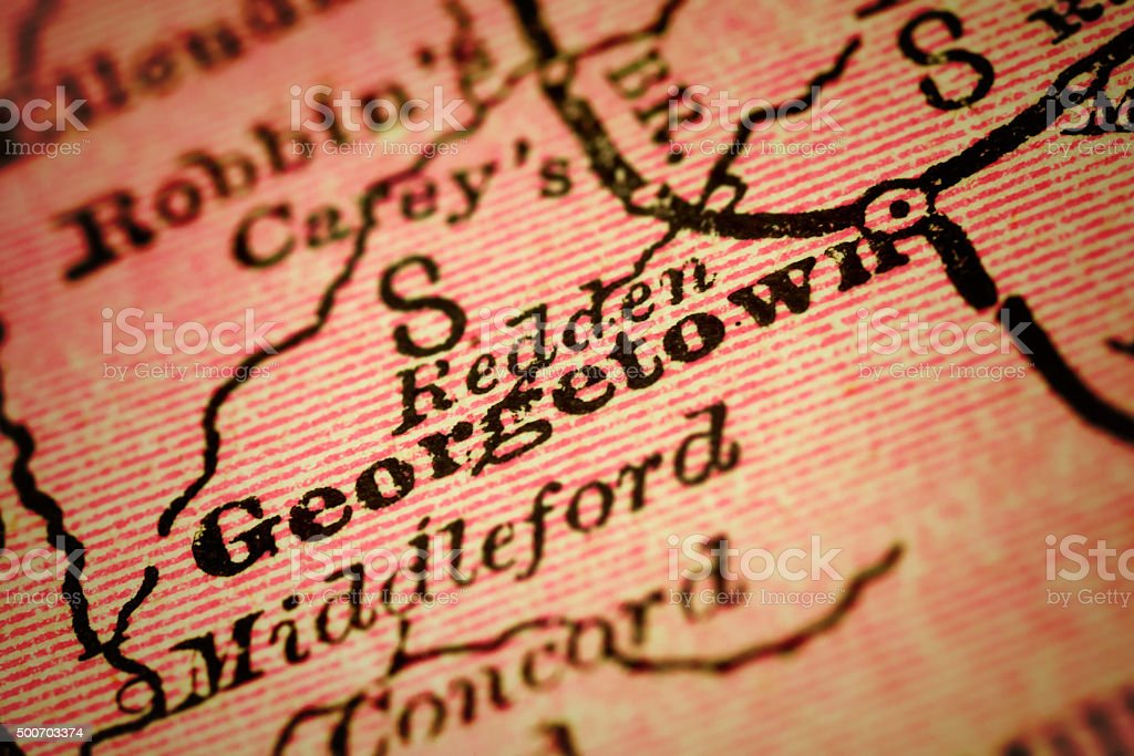 Georgetown, Delaware on an Antique map stock photo