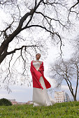 Georgeus young bride in red cloak