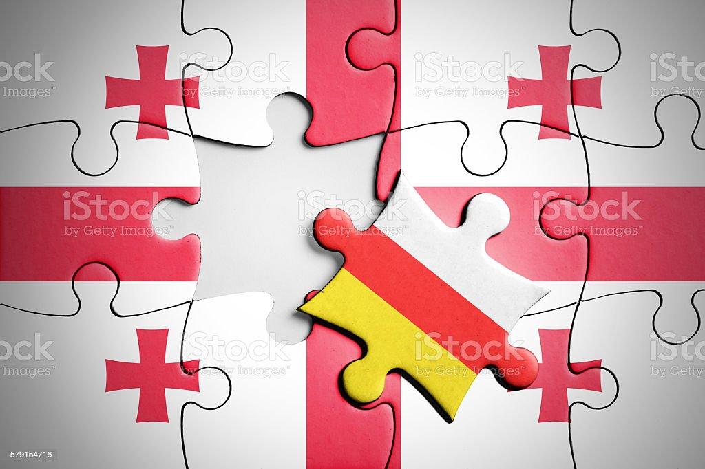 Georgia and South Ossetia. Separatism concept puzzle. stock photo