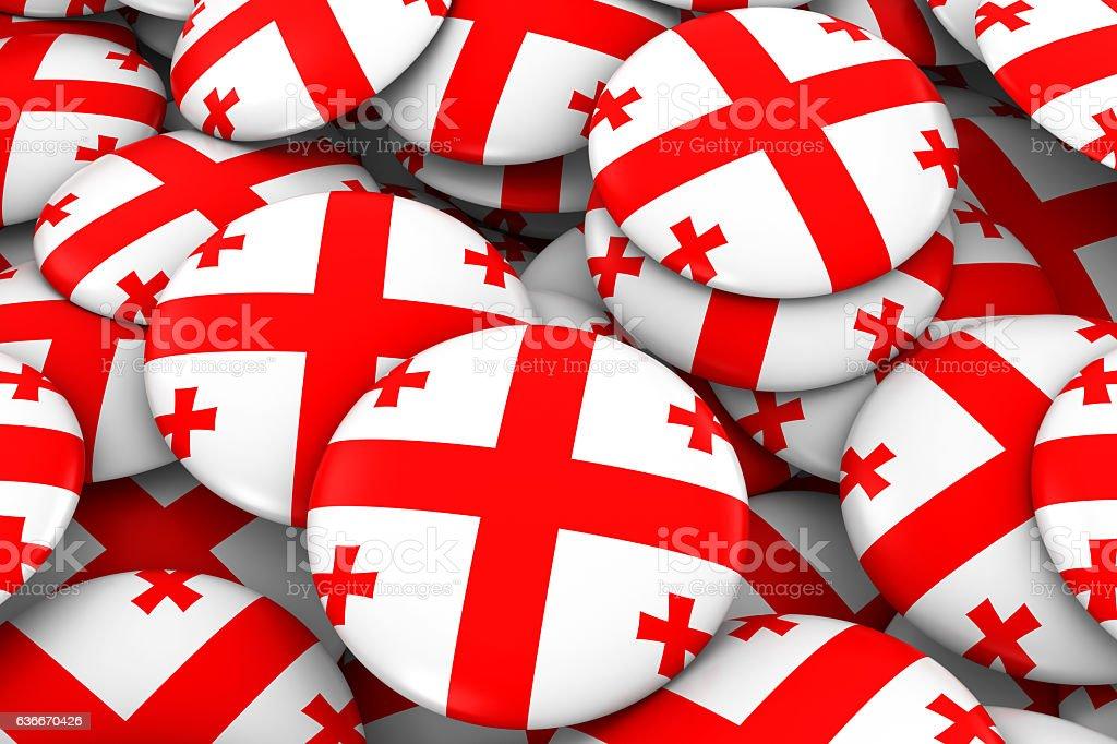 Georgia Badges Background - Pile of Georgian Flag Buttons stock photo