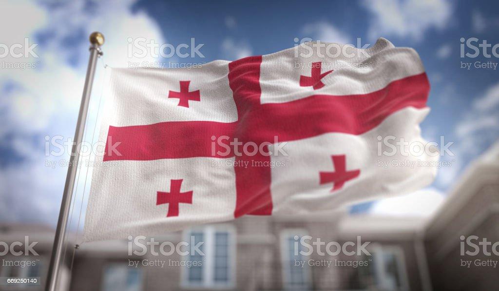 Georgia Flag  Flag 3D Rendering on Blue Sky Building Background stock photo