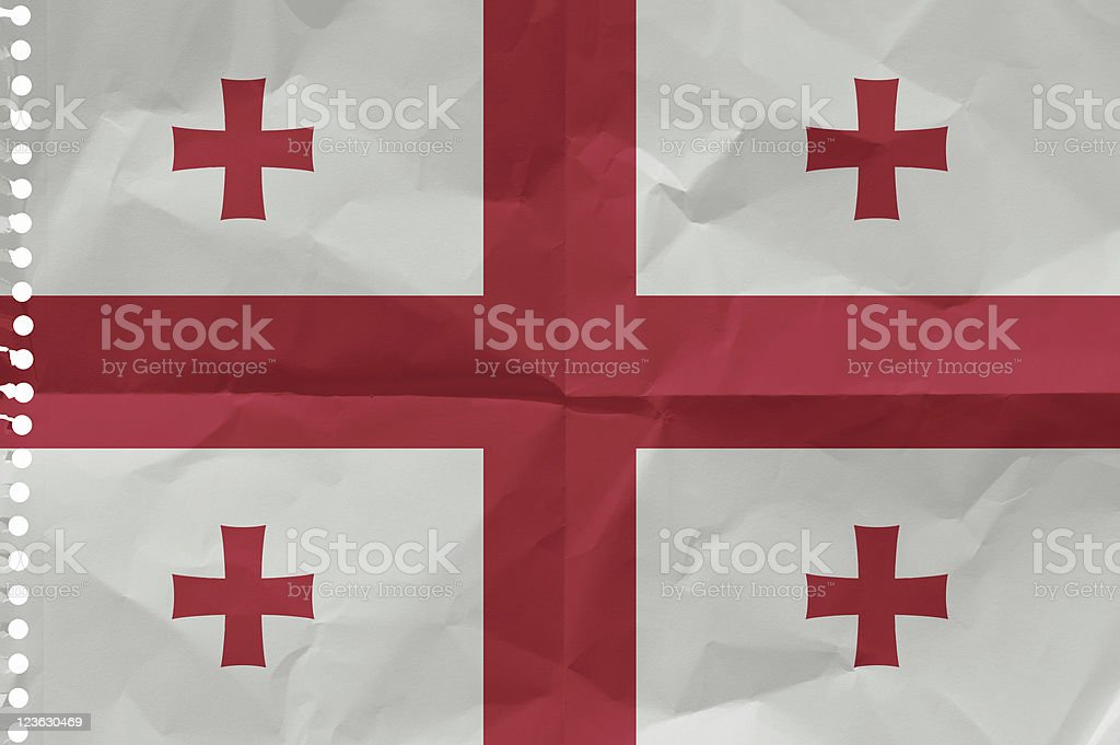 Georgia, Flag on a piece of paper stock photo