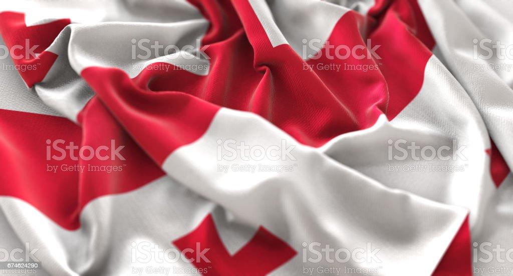 Georgia Flag Ruffled Beautifully Waving Macro Close-Up Shot stock photo
