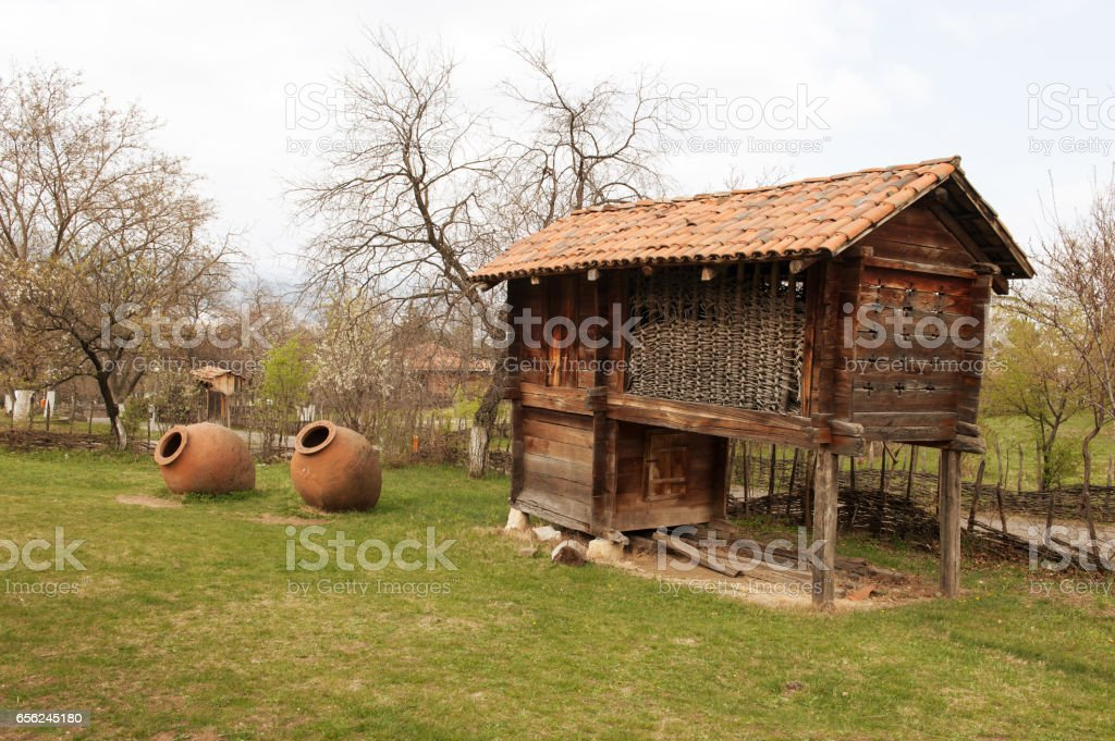 Georgia rural house with big Wine barrel stock photo