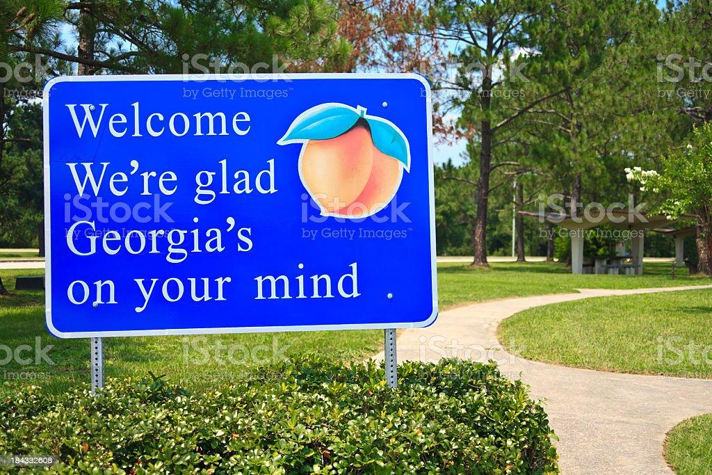 Georgia State Welcome Sign stock photo