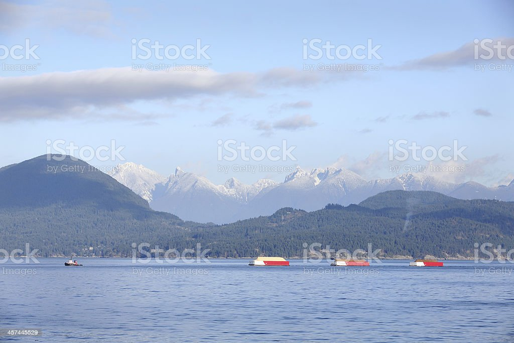Georgia Strait Tugboat Towing Barges stock photo