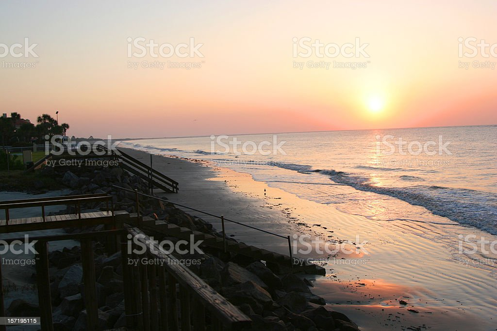 Georgia sunrise on St.Simons Island stock photo