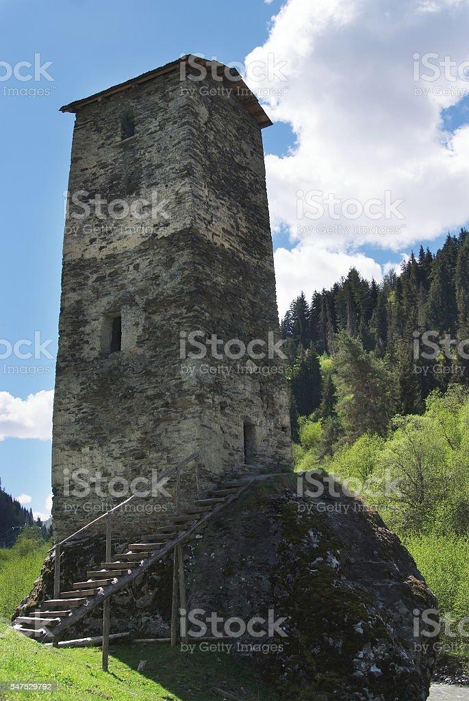 Georgia, Svaneti towers in mountains stock photo