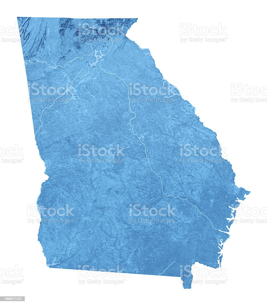 Georgia Topographic Map Isolated royalty-free stock photo
