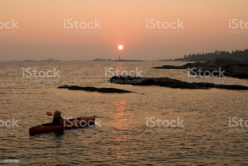 Georgian Bay Kayaker stock photo