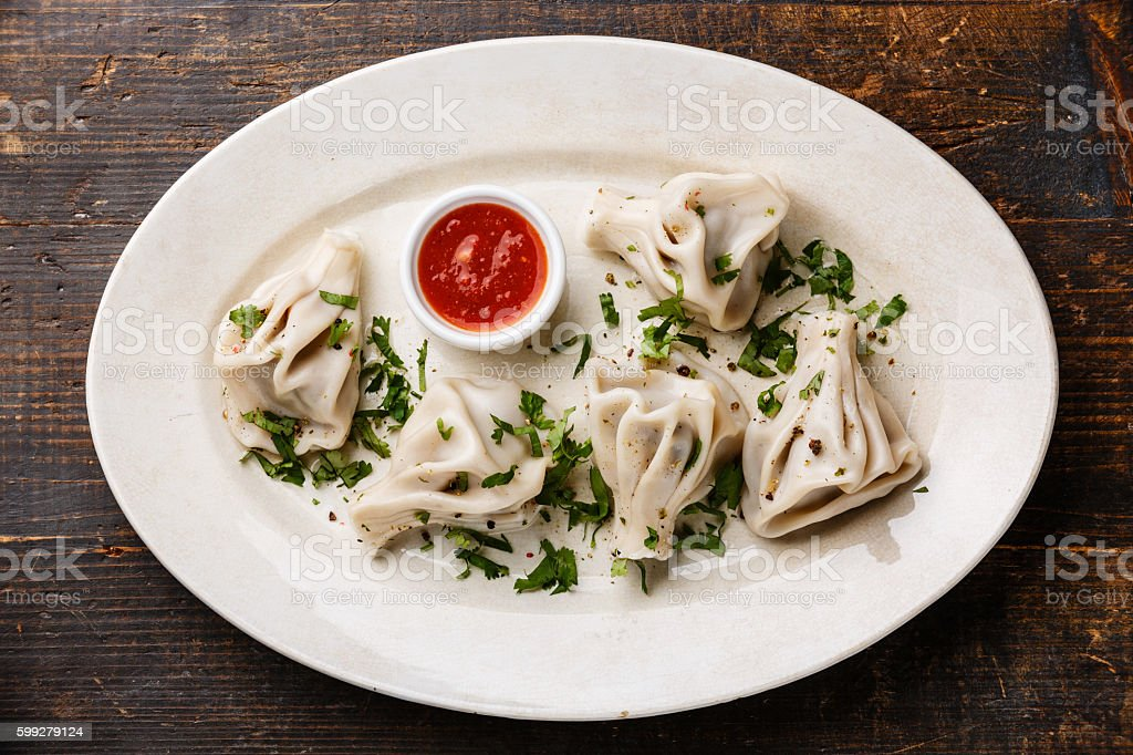 Georgian dumplings Khinkali with meat stock photo