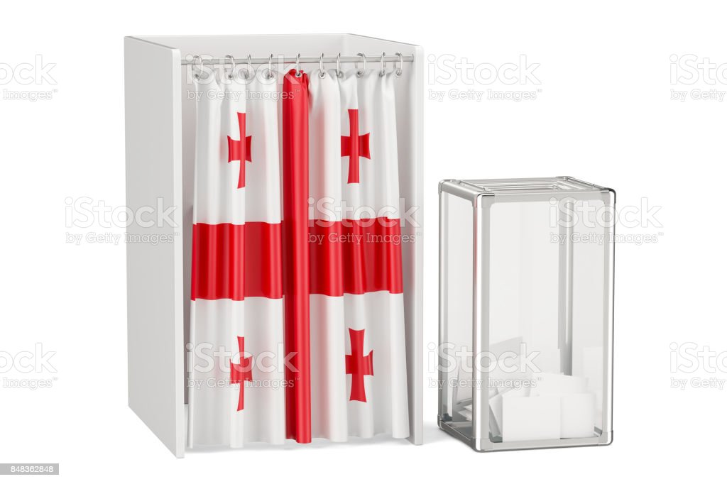 Georgian election concept, ballot box and voting booths with flag of Greece, 3D rendering stock photo