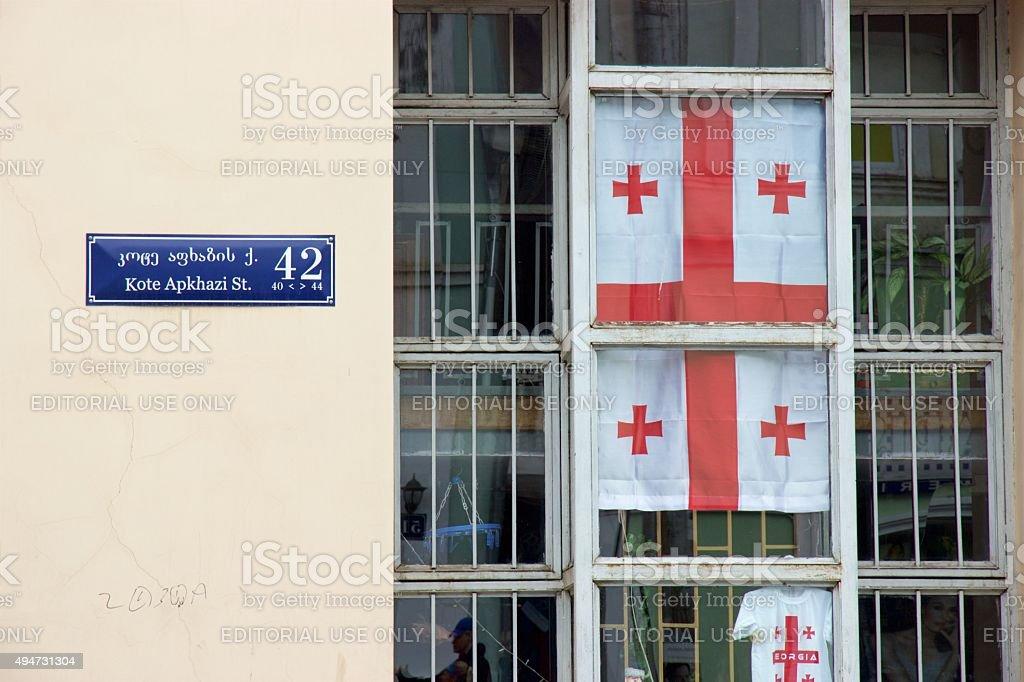 Georgian flag and T-shirt in souvenir shop in Tbilisi, Georgia stock photo
