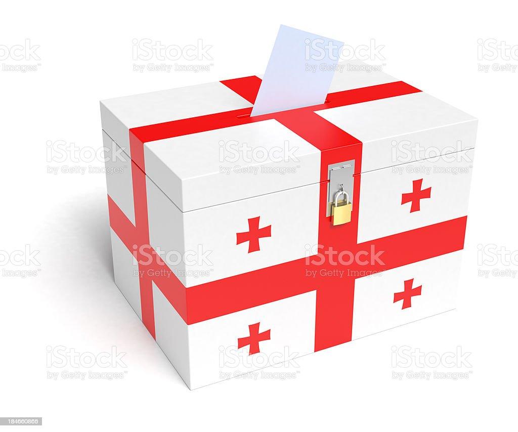 Georgian Flag Ballot Box stock photo
