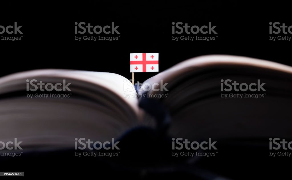 Georgian flag in the middle of the book. Knowledge and education concept. stock photo