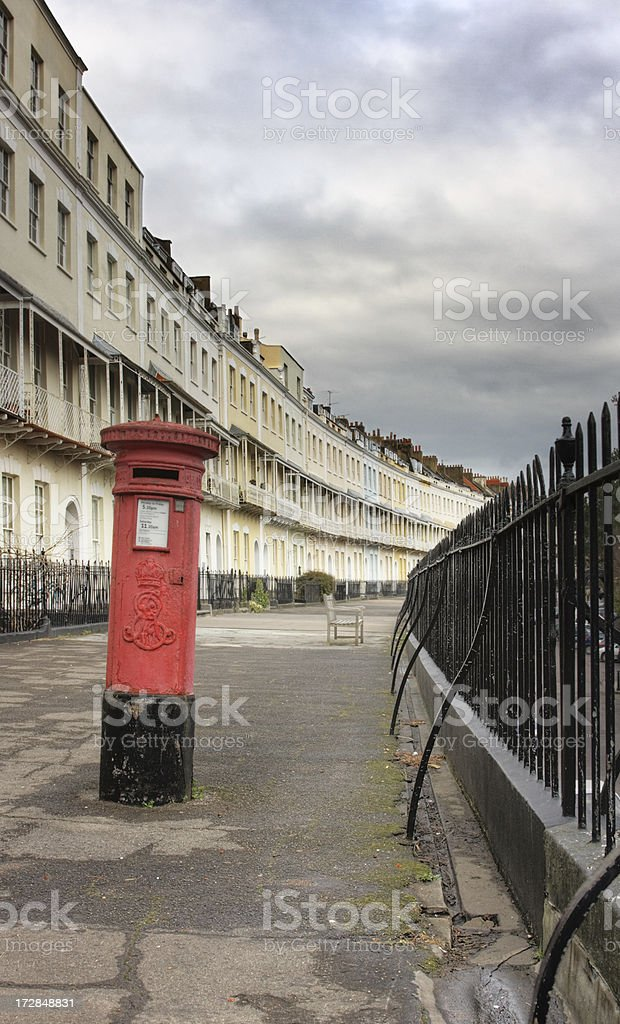 Georgian Houses and Postbox royalty-free stock photo