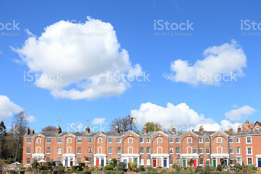 Georgian houses with multi colored front doors stock photo