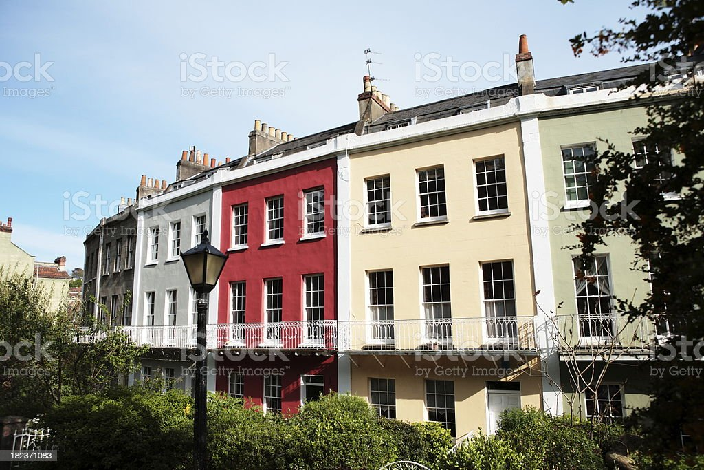 Georgian Multicolored Terraced House Crescent royalty-free stock photo