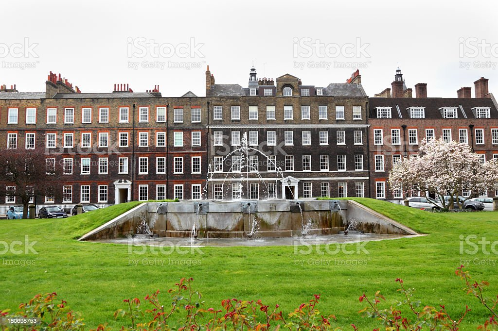 Georgian Square in London with fountains and lawn stock photo