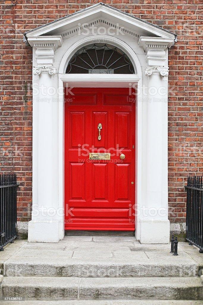 Georgian style red wooden door royalty-free stock photo