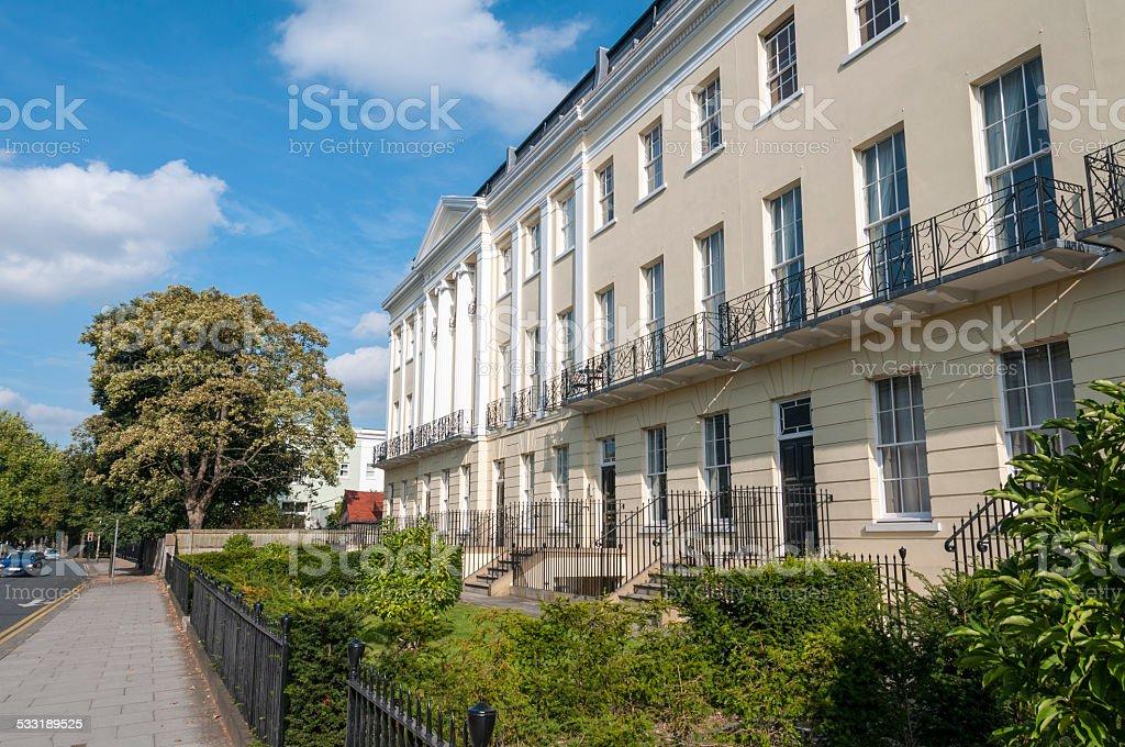 Georgian Style Terraced Town Houses In Cheltenham, United Kingdom stock photo