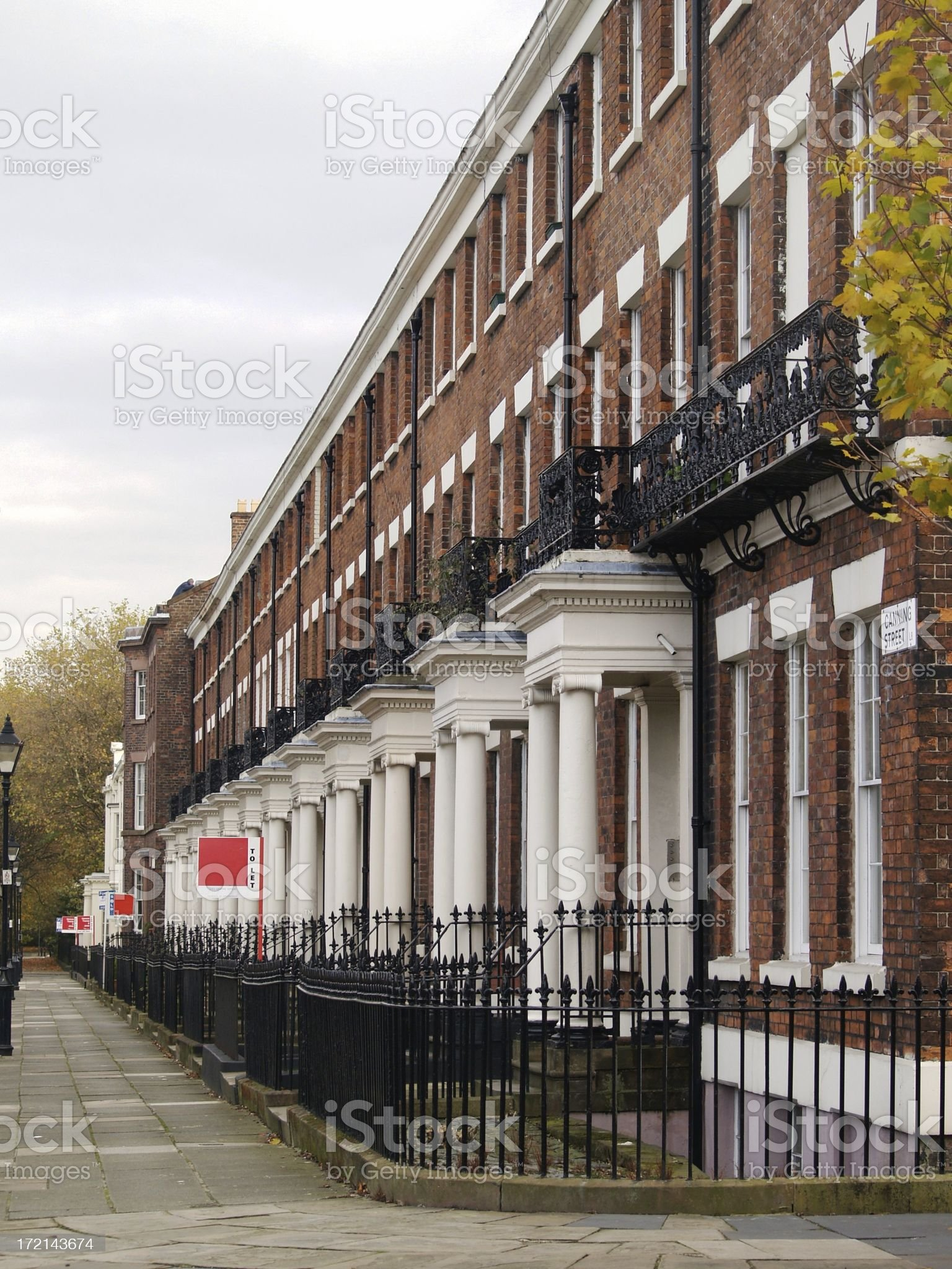 Georgian terraced houses in Liverpool. royalty-free stock photo