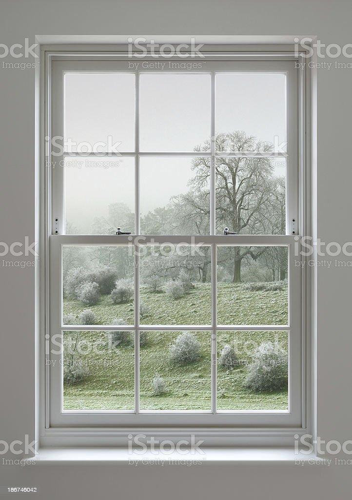 Georgian window with frosty view stock photo