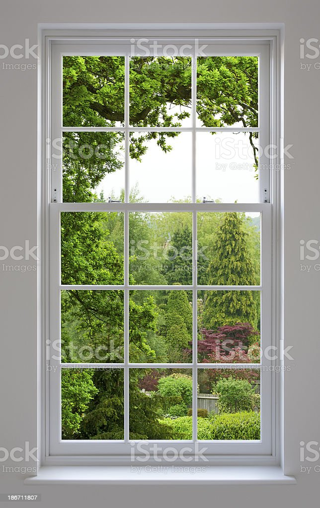 Georgian Windows with garden view stock photo