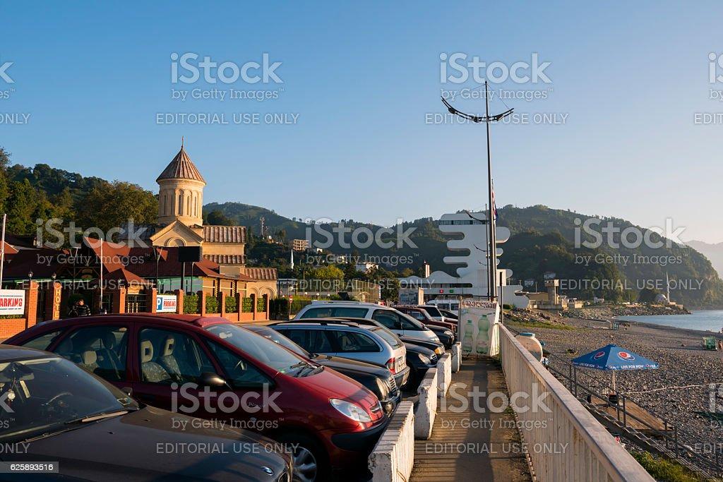 Georgia-Turkey border and beach in Sarpi stock photo