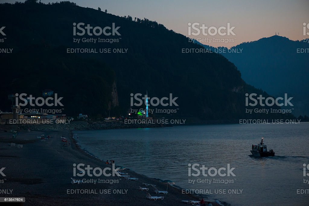 Georgia-Turkey border in Sarpi stock photo